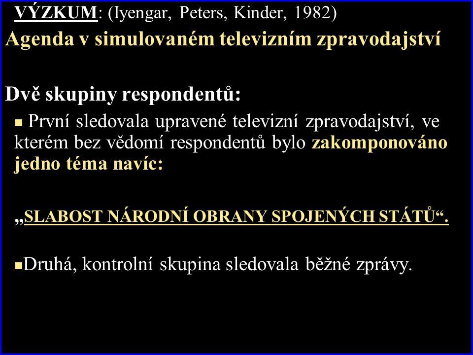 VÝZKUM: (Iyengar, Peters, Kinder, 1982) Agenda v simulovaném televizním zpravodajství Dvě skupiny respondentů: První sledovala upravené televizní zpra