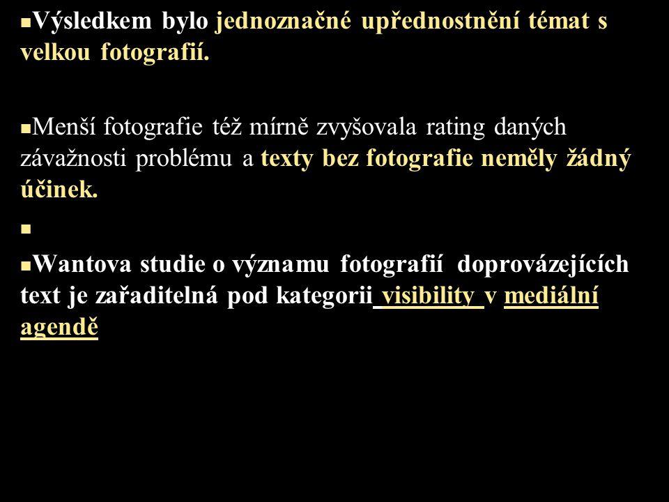 Výsledkem bylo jednoznačné upřednostnění témat s velkou fotografií. Menší fotografie též mírně zvyšovala rating daných závažnosti problému a texty bez
