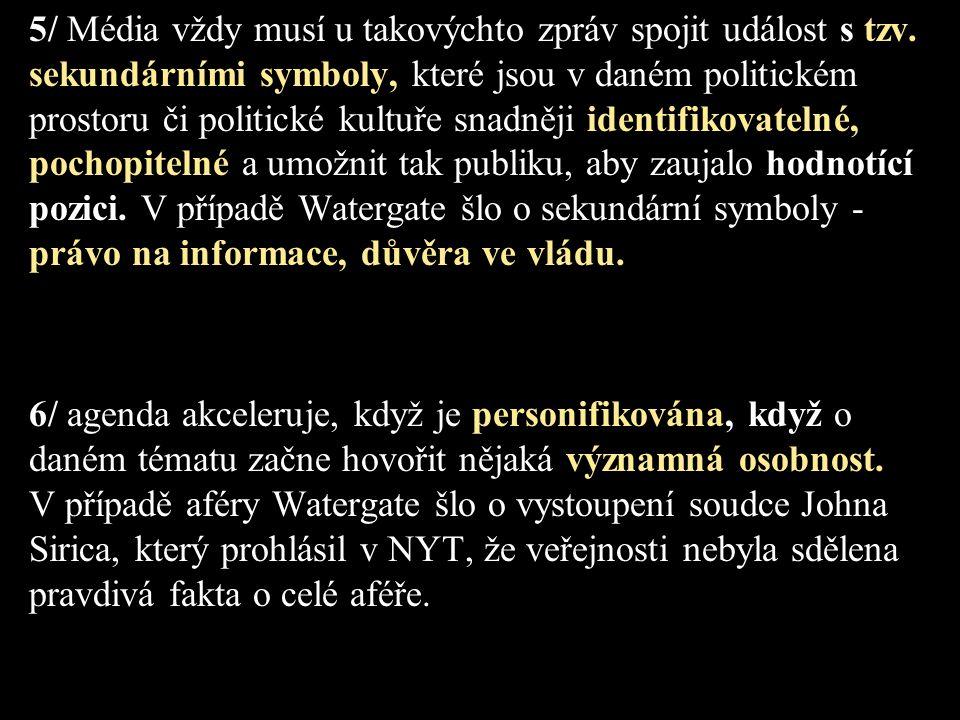 5/ Média vždy musí u takovýchto zpráv spojit událost s tzv. sekundárními symboly, které jsou v daném politickém prostoru či politické kultuře snadněji