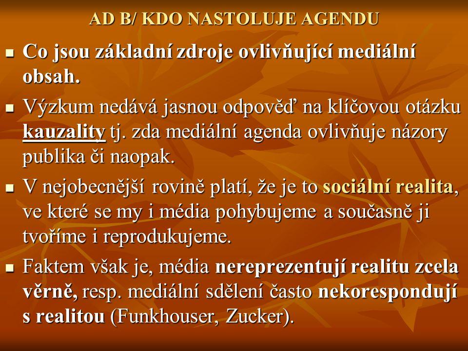 AD B/ KDO NASTOLUJE AGENDU Co jsou základní zdroje ovlivňující mediální obsah. Co jsou základní zdroje ovlivňující mediální obsah. Výzkum nedává jasno