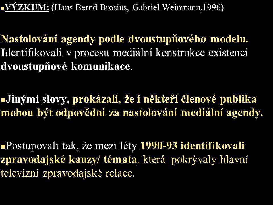 VÝZKUM: (Hans Bernd Brosius, Gabriel Weinmann,1996) Nastolování agendy podle dvoustupňového modelu. Identifikovali v procesu mediální konstrukce exist