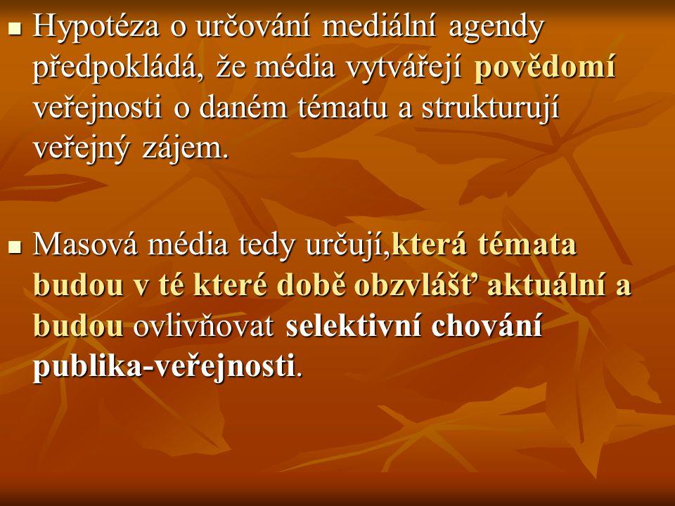 Hypotéza o určování mediální agendy předpokládá, že média vytvářejí povědomí veřejnosti o daném tématu a strukturují veřejný zájem. Hypotéza o určován
