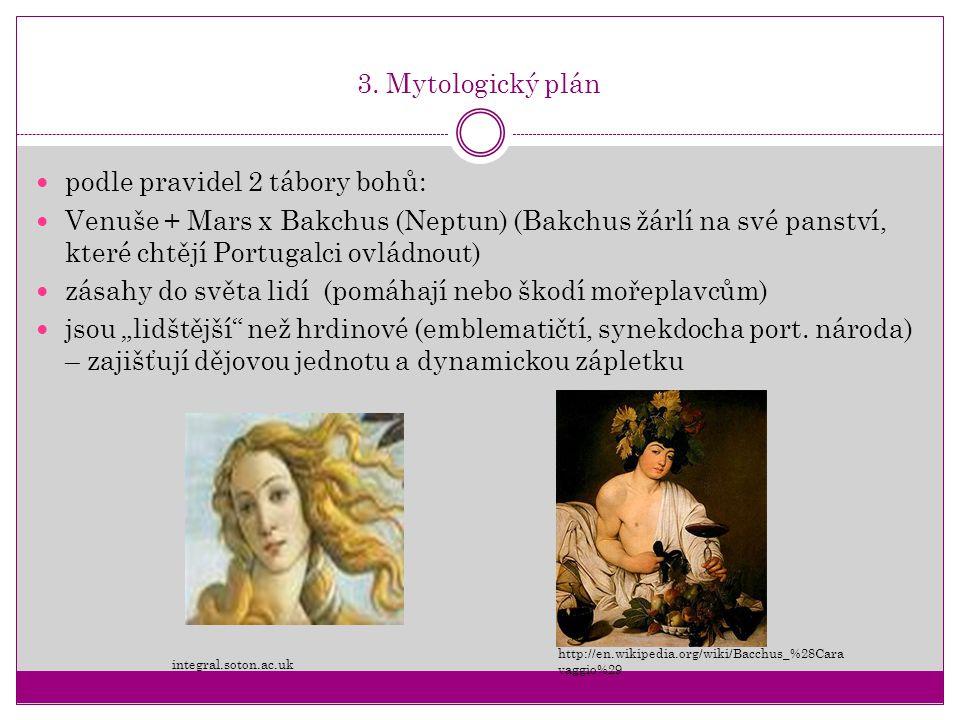 3. Mytologický plán podle pravidel 2 tábory bohů: Venuše + Mars x Bakchus (Neptun) (Bakchus žárlí na své panství, které chtějí Portugalci ovládnout) z