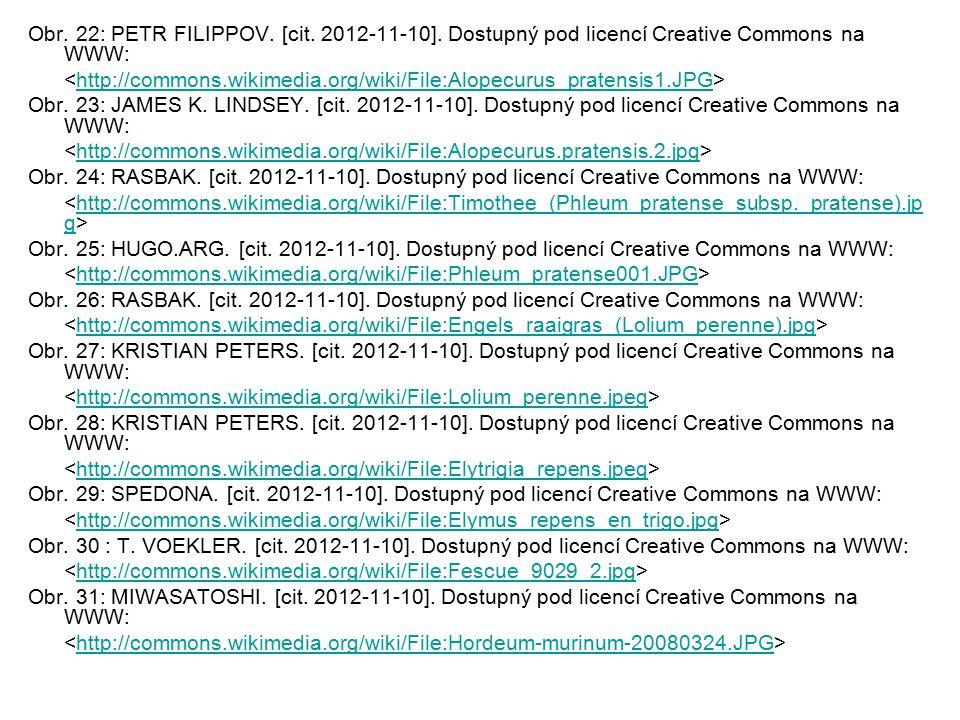 Obr. 22: PETR FILIPPOV. [cit. 2012-11-10]. Dostupný pod licencí Creative Commons na WWW: http://commons.wikimedia.org/wiki/File:Alopecurus_pratensis1.