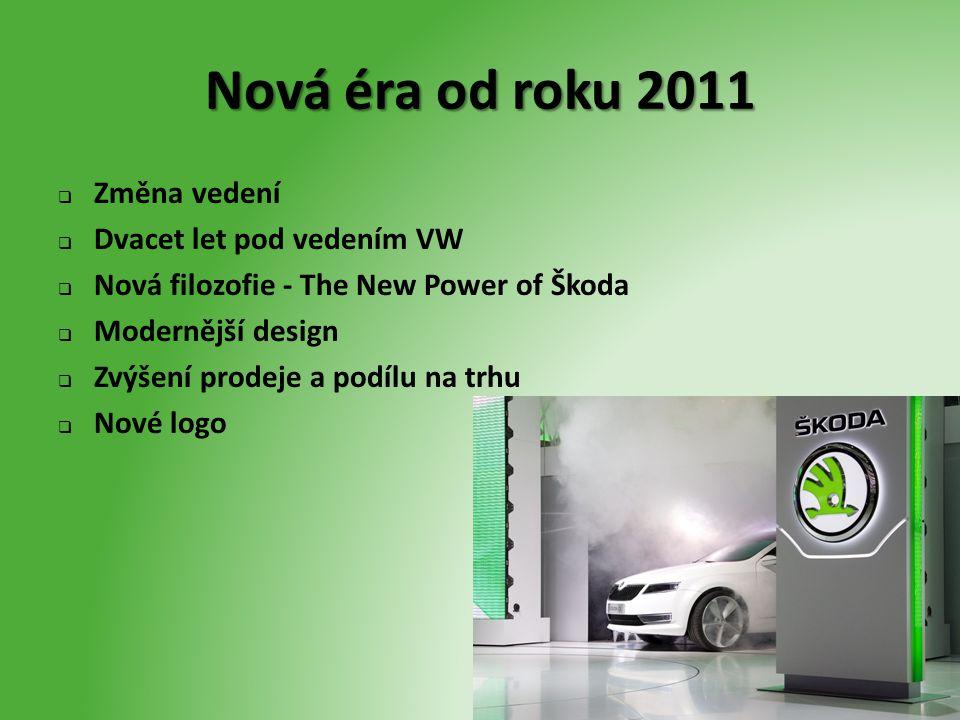 Nová éra od roku 2011  Změna vedení  Dvacet let pod vedením VW  Nová filozofie - The New Power of Škoda  Modernější design  Zvýšení prodeje a pod