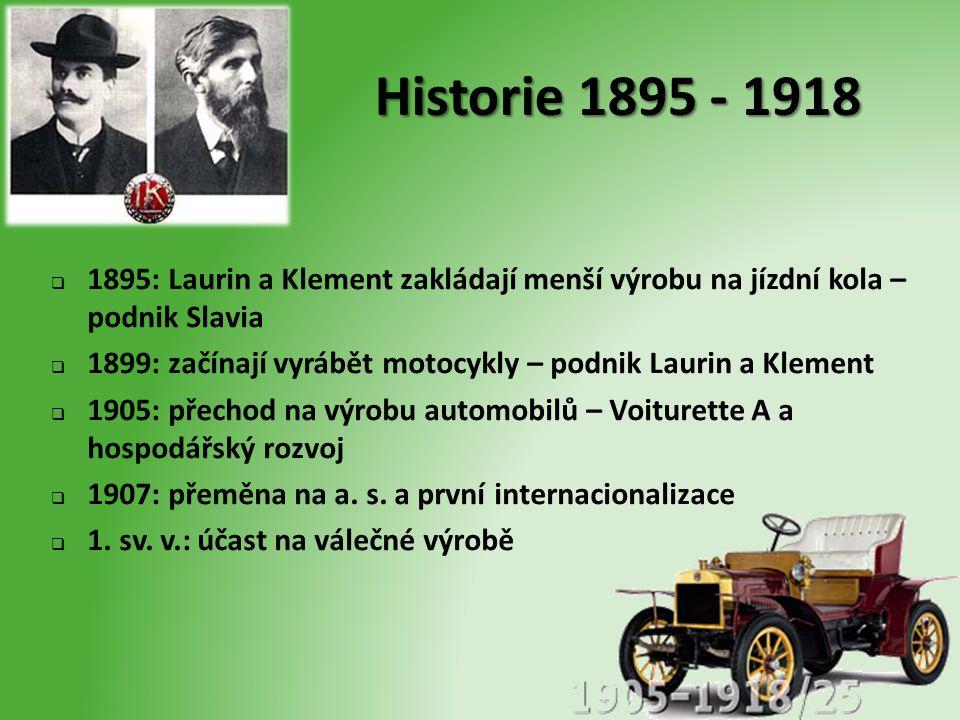 Historie 1895 - 1918  1895: Laurin a Klement zakládají menší výrobu na jízdní kola – podnik Slavia  1899: začínají vyrábět motocykly – podnik Laurin