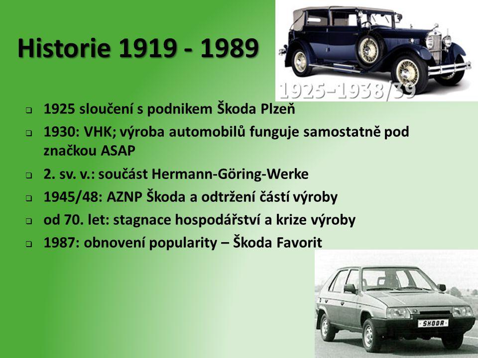 Historie 1919 - 1989  1925 sloučení s podnikem Škoda Plzeň  1930: VHK; výroba automobilů funguje samostatně pod značkou ASAP  2. sv. v.: součást He