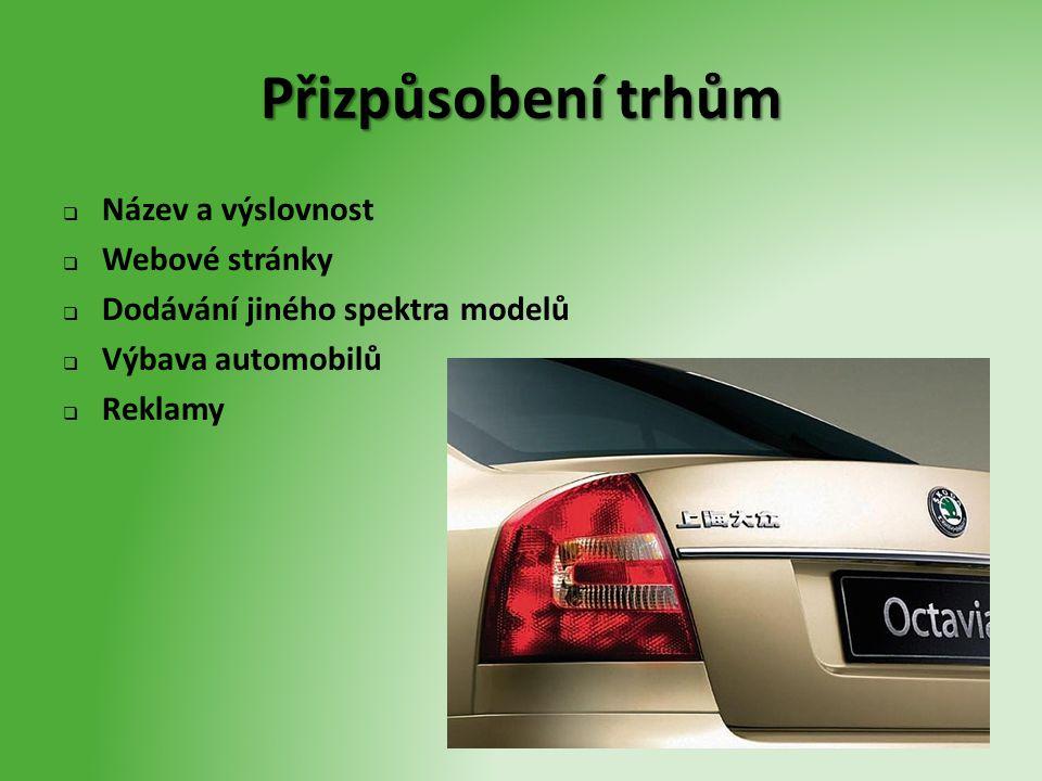 Přizpůsobení trhům  Název a výslovnost  Webové stránky  Dodávání jiného spektra modelů  Výbava automobilů  Reklamy
