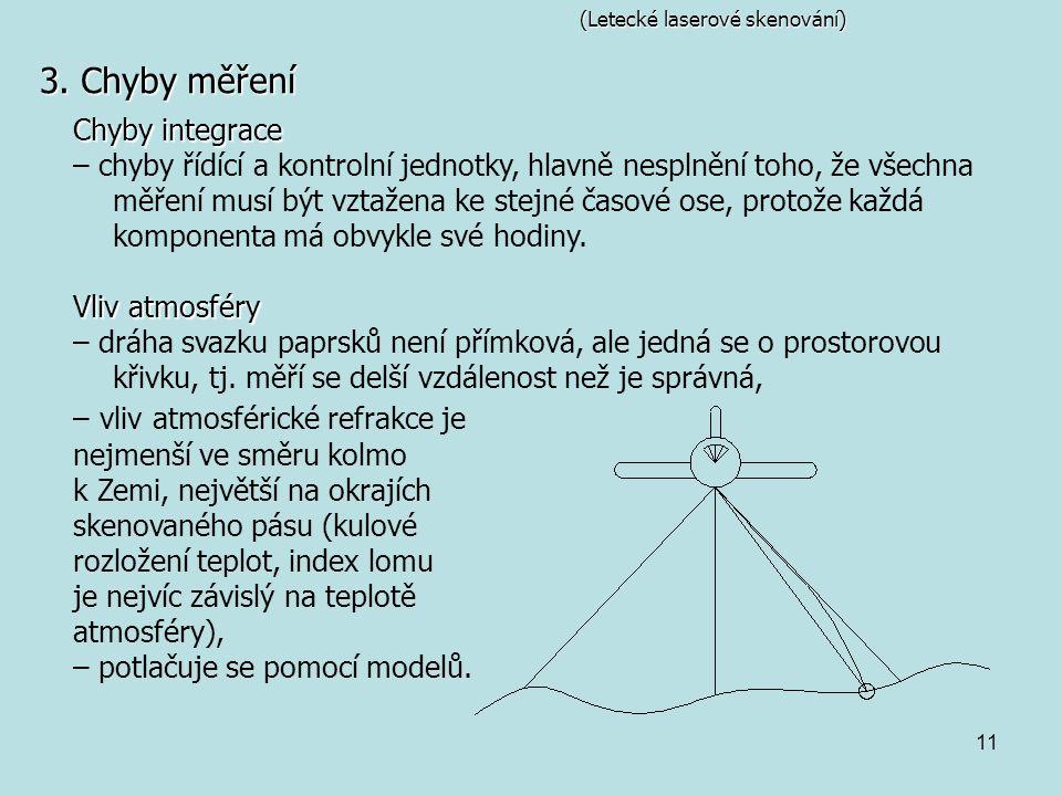 11 (Letecké laserové skenování) 3. Chyby měření Chyby integrace – chyby řídící a kontrolní jednotky, hlavně nesplnění toho, že všechna měření musí být