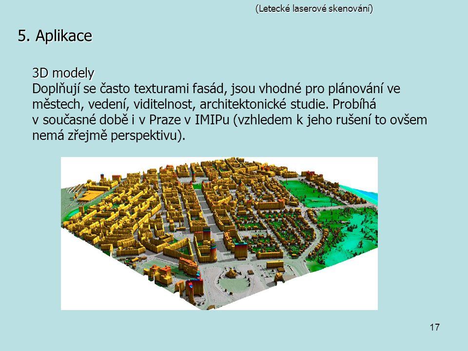 17 (Letecké laserové skenování) 5. Aplikace 3D modely Doplňují se často texturami fasád, jsou vhodné pro plánování ve městech, vedení, viditelnost, ar