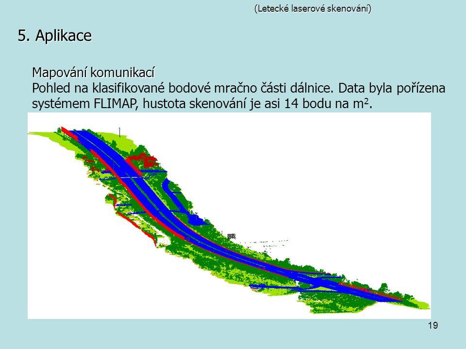 19 (Letecké laserové skenování) 5. Aplikace Mapování komunikací Pohled na klasifikované bodové mračno části dálnice. Data byla pořízena systémem FLIMA