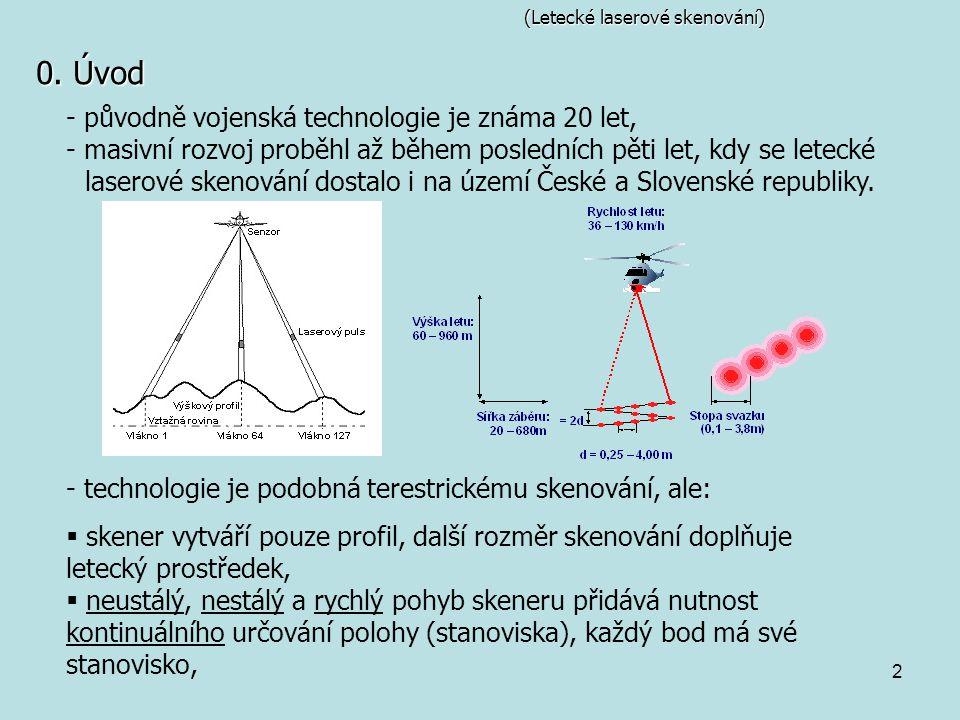 2 (Letecké laserové skenování) 0. Úvod - původně vojenská technologie je známa 20 let, - masivní rozvoj proběhl až během posledních pěti let, kdy se l