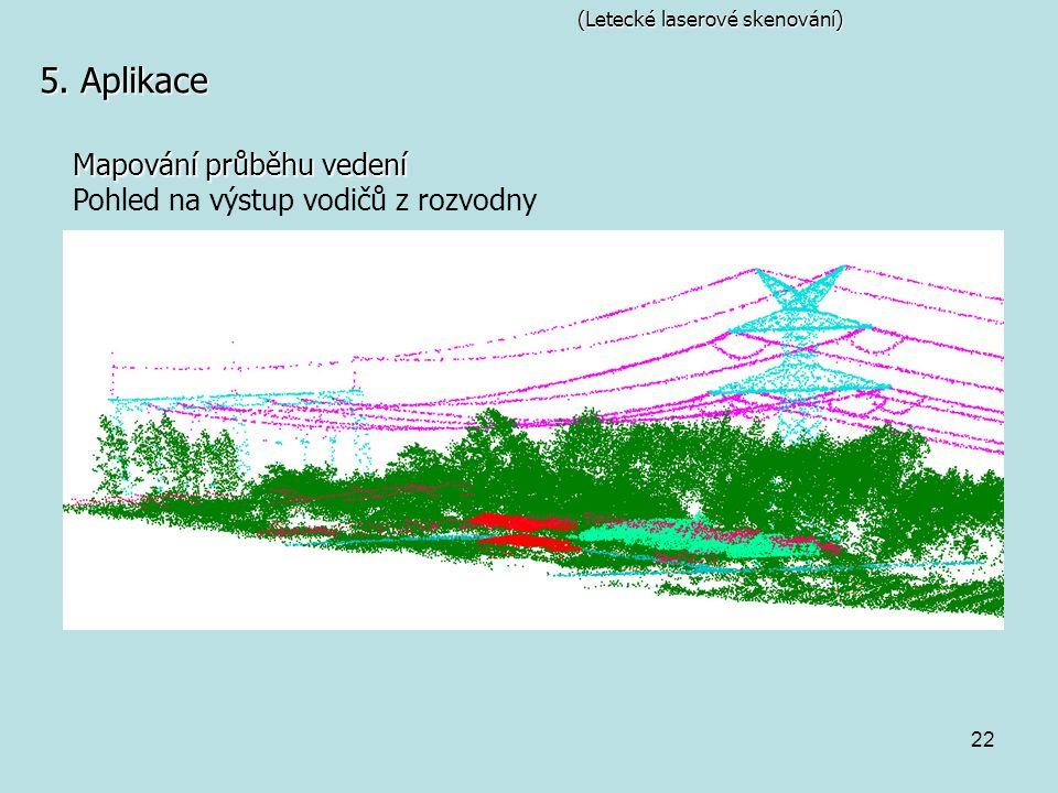 22 (Letecké laserové skenování) 5. Aplikace Mapování průběhu vedení Pohled na výstup vodičů z rozvodny