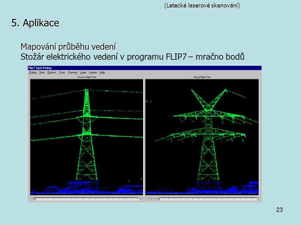 23 (Letecké laserové skenování) 5. Aplikace Mapování průběhu vedení Stožár elektrického vedení v programu FLIP7 – mračno bodů