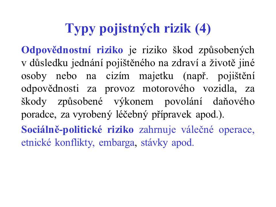 Typy pojistných rizik (4) Odpovědnostní riziko je riziko škod způsobených v důsledku jednání pojištěného na zdraví a životě jiné osoby nebo na cizím m