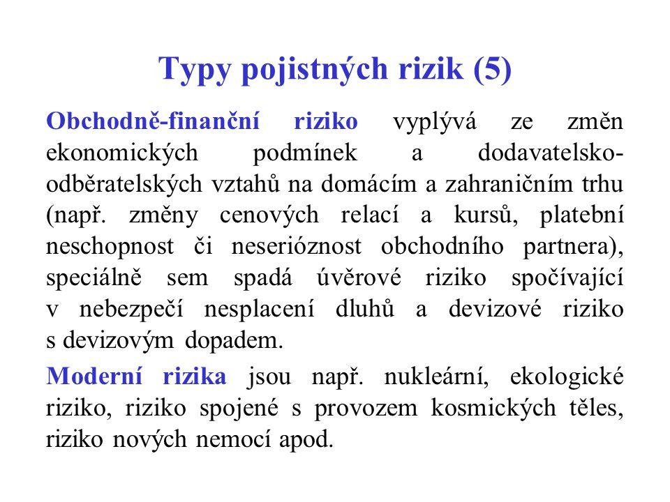 Typy pojistných rizik (5) Obchodně-finanční riziko vyplývá ze změn ekonomických podmínek a dodavatelsko- odběratelských vztahů na domácím a zahraniční