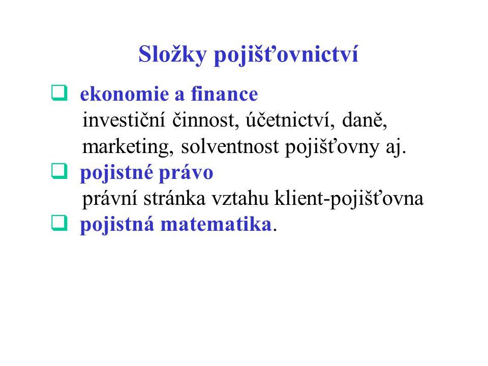Složky pojišťovnictví  ekonomie a finance investiční činnost, účetnictví, daně, marketing, solventnost pojišťovny aj.  pojistné právo právní stránka