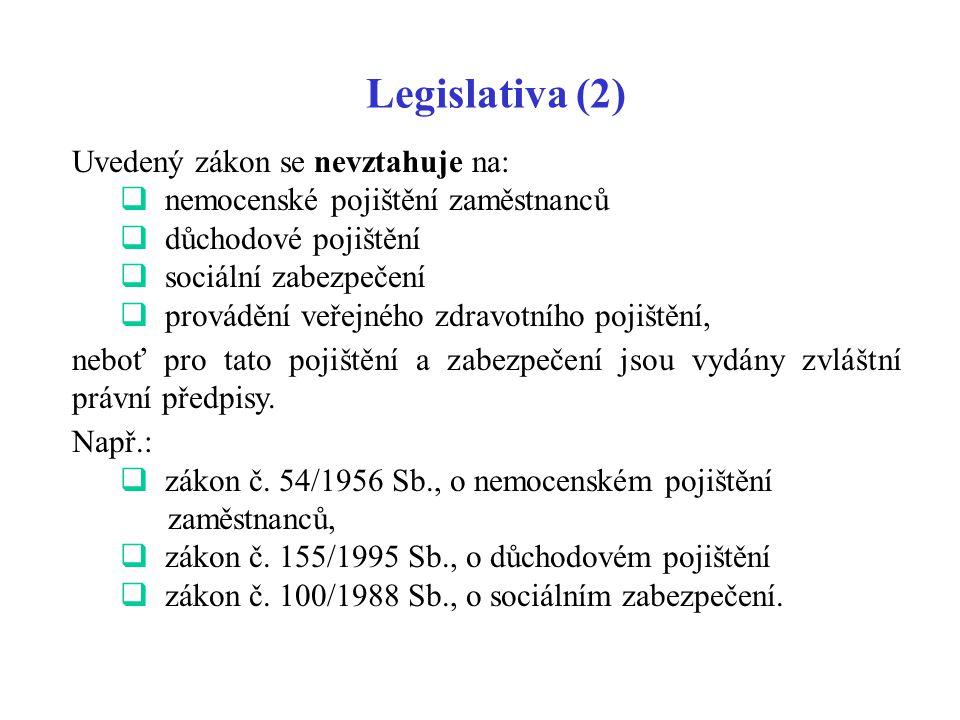Legislativa (2) Uvedený zákon se nevztahuje na:  nemocenské pojištění zaměstnanců  důchodové pojištění  sociální zabezpečení  provádění veřejného