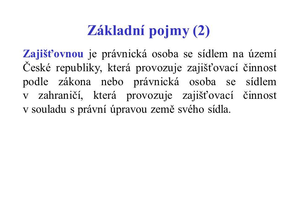 Základní pojmy (2) Zajišťovnou je právnická osoba se sídlem na území České republiky, která provozuje zajišťovací činnost podle zákona nebo právnická