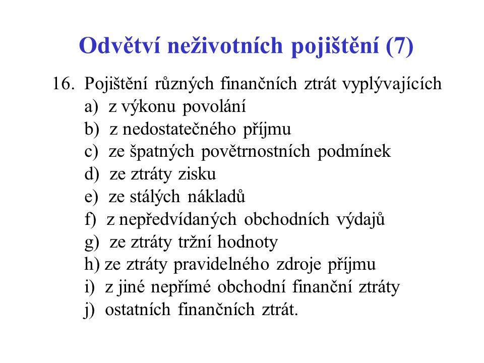 Odvětví neživotních pojištění (7) 16. Pojištění různých finančních ztrát vyplývajících a) z výkonu povolání b) z nedostatečného příjmu c) ze špatných