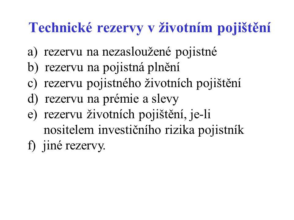 Technické rezervy v životním pojištění a) rezervu na nezasloužené pojistné b) rezervu na pojistná plnění c) rezervu pojistného životních pojištění d)