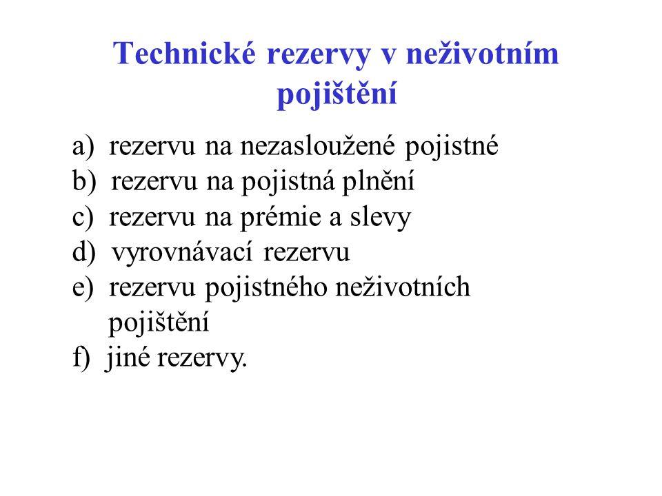 Technické rezervy v neživotním pojištění a) rezervu na nezasloužené pojistné b) rezervu na pojistná plnění c) rezervu na prémie a slevy d) vyrovnávací