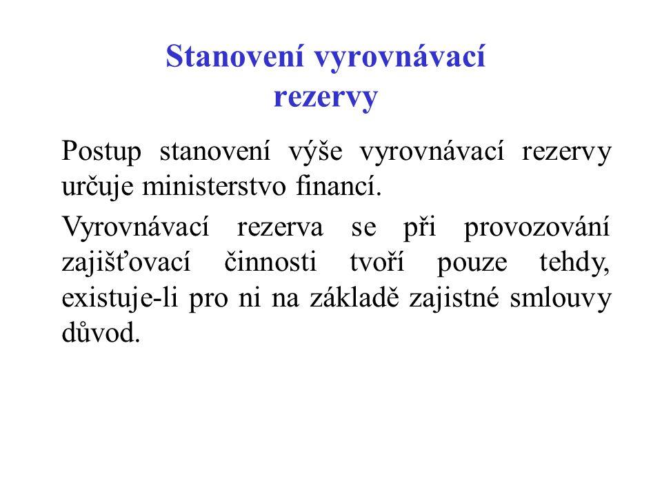 Stanovení vyrovnávací rezervy Postup stanovení výše vyrovnávací rezervy určuje ministerstvo financí. Vyrovnávací rezerva se při provozování zajišťovac