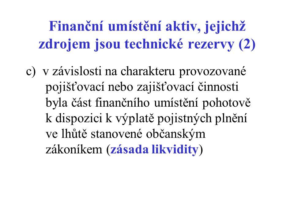 Finanční umístění aktiv, jejichž zdrojem jsou technické rezervy (2) c) v závislosti na charakteru provozované pojišťovací nebo zajišťovací činnosti by