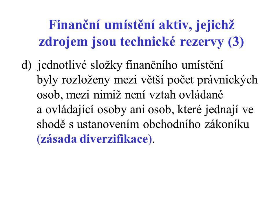Finanční umístění aktiv, jejichž zdrojem jsou technické rezervy (3) d) jednotlivé složky finančního umístění byly rozloženy mezi větší počet právnický