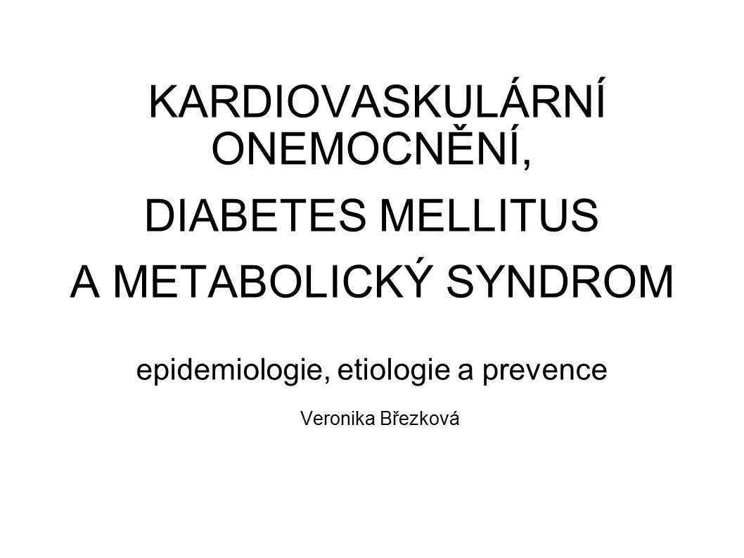 KARDIOVASKULÁRNÍ ONEMOCNĚNÍ, DIABETES MELLITUS A METABOLICKÝ SYNDROM epidemiologie, etiologie a prevence Veronika Březková
