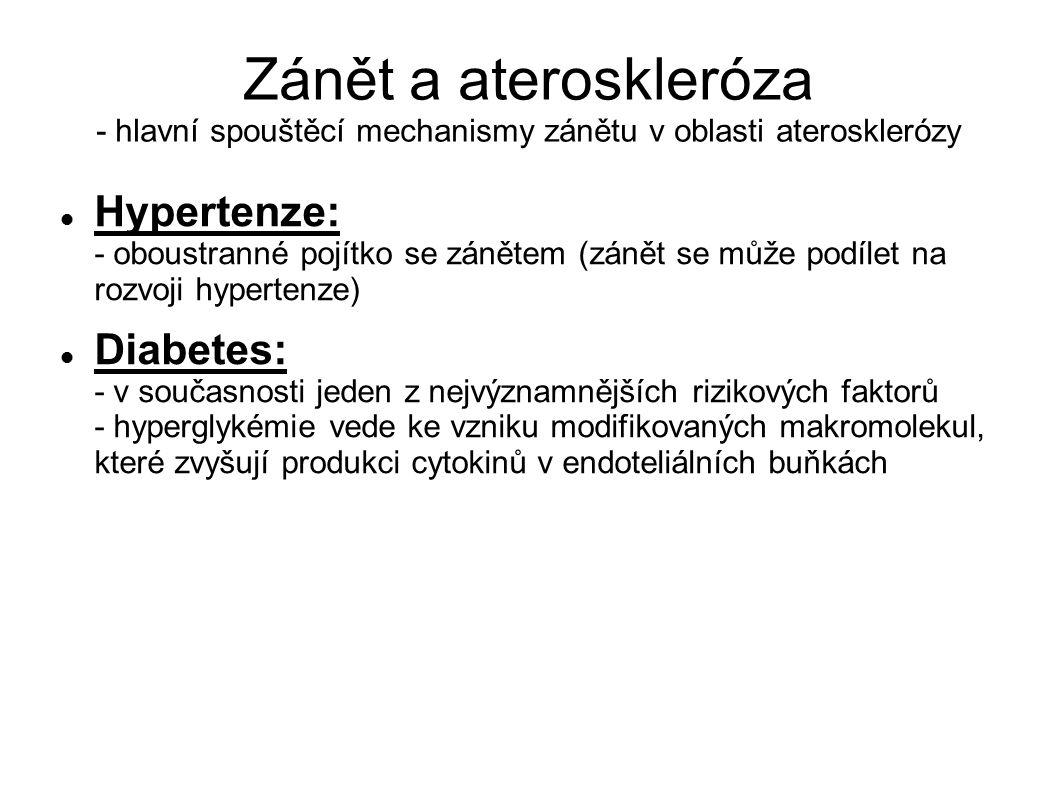 Zánět a ateroskleróza - hlavní spouštěcí mechanismy zánětu v oblasti aterosklerózy Hypertenze: - oboustranné pojítko se zánětem (zánět se může podílet