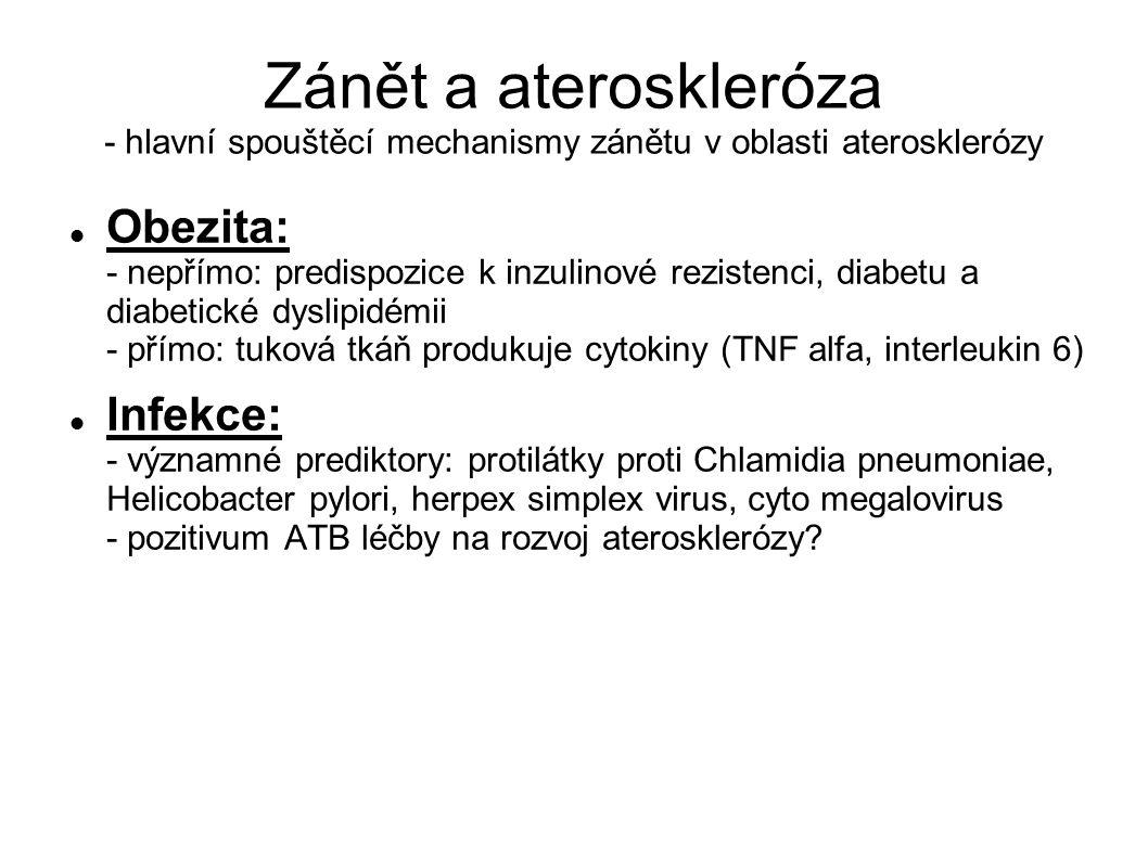 Zánět a ateroskleróza - hlavní spouštěcí mechanismy zánětu v oblasti aterosklerózy Obezita: - nepřímo: predispozice k inzulinové rezistenci, diabetu a