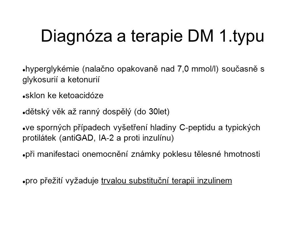 Diagnóza a terapie DM 1.typu hyperglykémie (nalačno opakovaně nad 7,0 mmol/l) současně s glykosurií a ketonurií sklon ke ketoacidóze dětský věk až ran