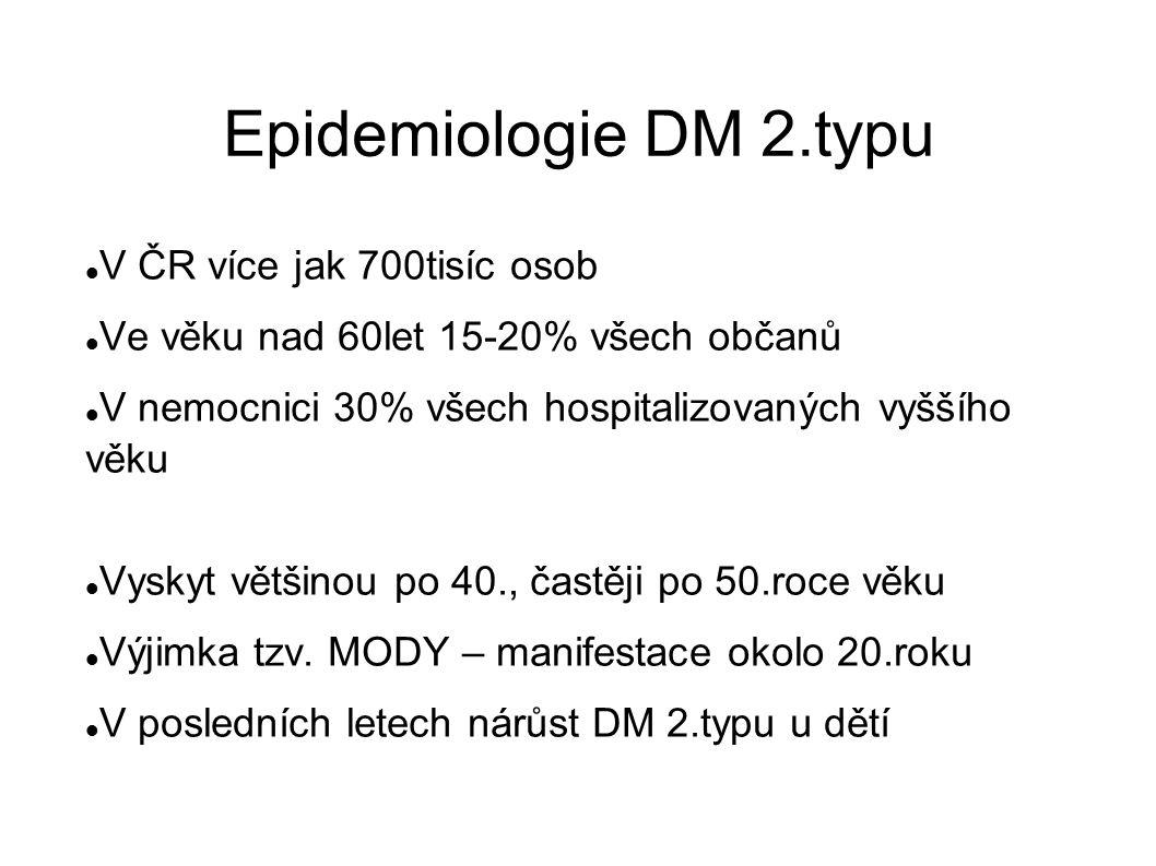 Epidemiologie DM 2.typu V ČR více jak 700tisíc osob Ve věku nad 60let 15-20% všech občanů V nemocnici 30% všech hospitalizovaných vyššího věku Vyskyt