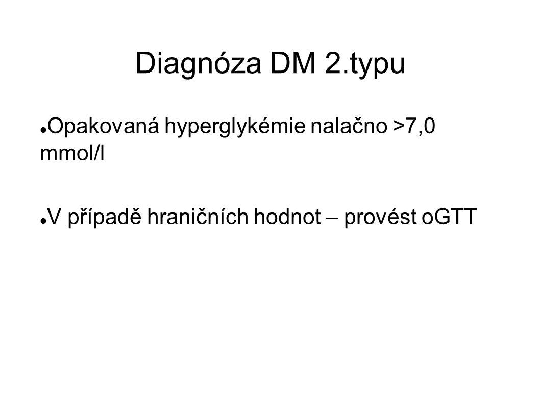 Diagnóza DM 2.typu Opakovaná hyperglykémie nalačno >7,0 mmol/l V případě hraničních hodnot – provést oGTT