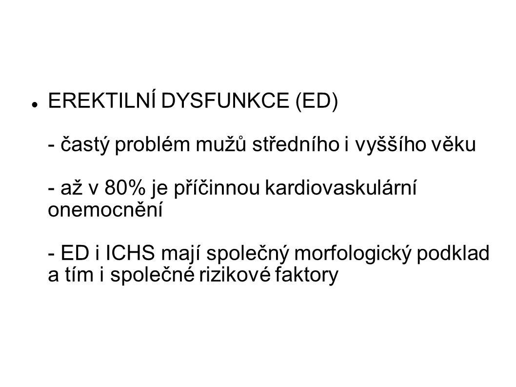 EREKTILNÍ DYSFUNKCE (ED) - častý problém mužů středního i vyššího věku - až v 80% je příčinnou kardiovaskulární onemocnění - ED i ICHS mají společný m