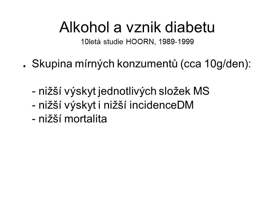 Alkohol a vznik diabetu 10letá studie HOORN, 1989-1999 Skupina mírných konzumentů (cca 10g/den): - nižší výskyt jednotlivých složek MS - nižší výskyt