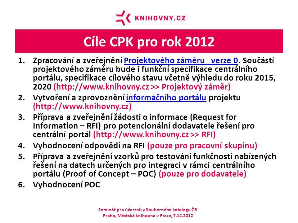 Cíle CPK pro rok 2012 1.Zpracování a zveřejnění Projektového záměru _verze 0. Součástí projektového záměru bude i funkční specifikace centrálního port