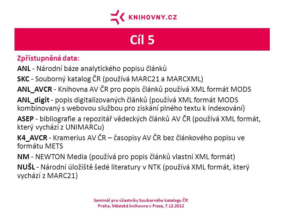 Cíl 5 Zpřístupněná data: ANL - Národní báze analytického popisu článků SKC - Souborný katalog ČR (používá MARC21 a MARCXML) ANL_AVCR - Knihovna AV ČR