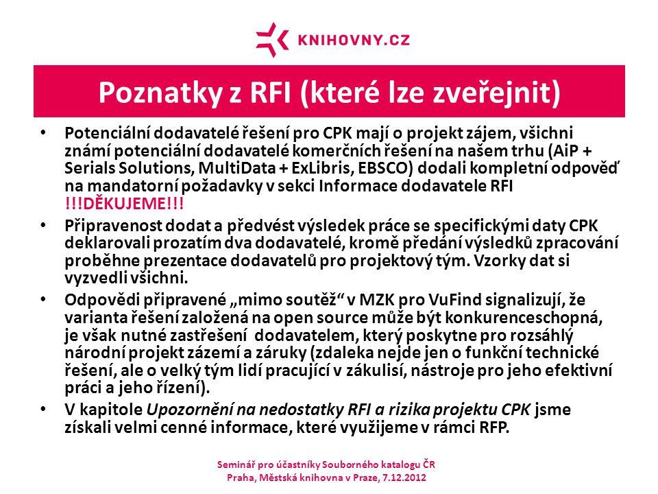 Poznatky z RFI (které lze zveřejnit) Potenciální dodavatelé řešení pro CPK mají o projekt zájem, všichni známí potenciální dodavatelé komerčních řešen