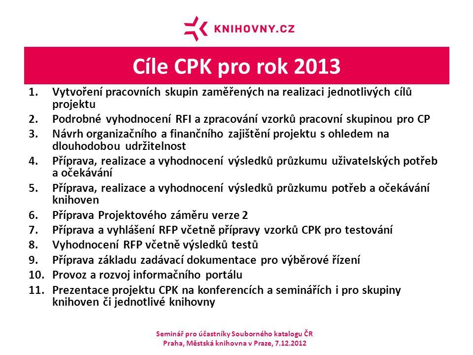 Cíle CPK pro rok 2013 1.Vytvoření pracovních skupin zaměřených na realizaci jednotlivých cílů projektu 2.Podrobné vyhodnocení RFI a zpracování vzorků