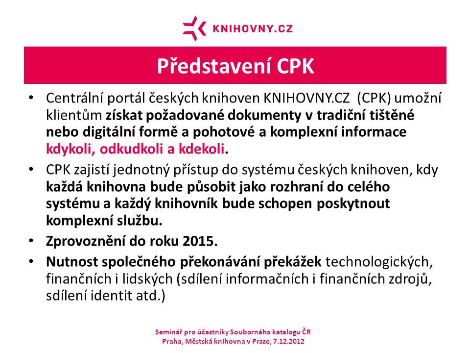Představení CPK Centrální portál českých knihoven KNIHOVNY.CZ (CPK) umožní klientům získat požadované dokumenty v tradiční tištěné nebo digitální form