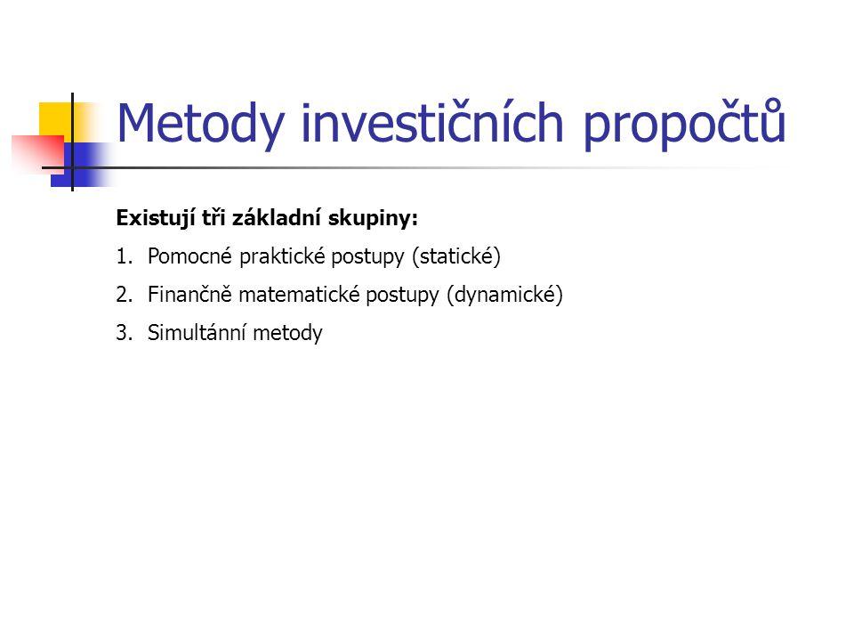 Metody investičních propočtů Existují tři základní skupiny: 1.Pomocné praktické postupy (statické) 2.Finančně matematické postupy (dynamické) 3.Simult