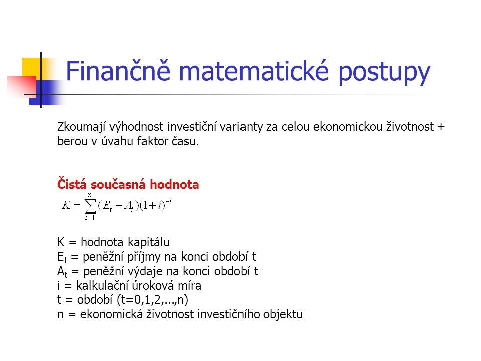 Finančně matematické postupy Zkoumají výhodnost investiční varianty za celou ekonomickou životnost + berou v úvahu faktor času. Čistá současná hodnota
