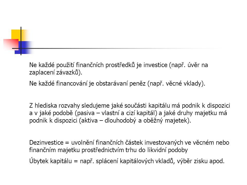 Ne každé použití finančních prostředků je investice (např. úvěr na zaplacení závazků). Ne každé financování je obstarávaní peněz (např. věcné vklady).
