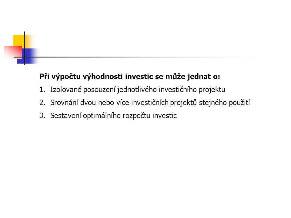 Při výpočtu výhodnosti investic se může jednat o: 1.Izolované posouzení jednotlivého investičního projektu 2.Srovnání dvou nebo více investičních proj