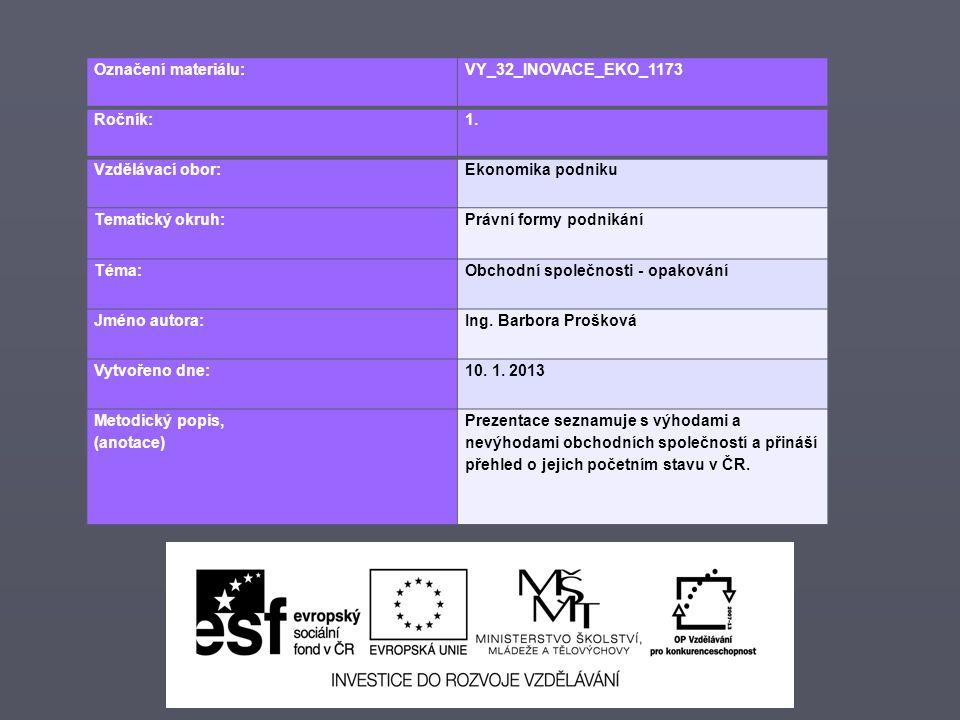 Označení materiálu: VY_32_INOVACE_EKO_1173 Ročník:1. Vzdělávací obor:Ekonomika podniku Tematický okruh:Právní formy podnikání Téma:Obchodní společnost