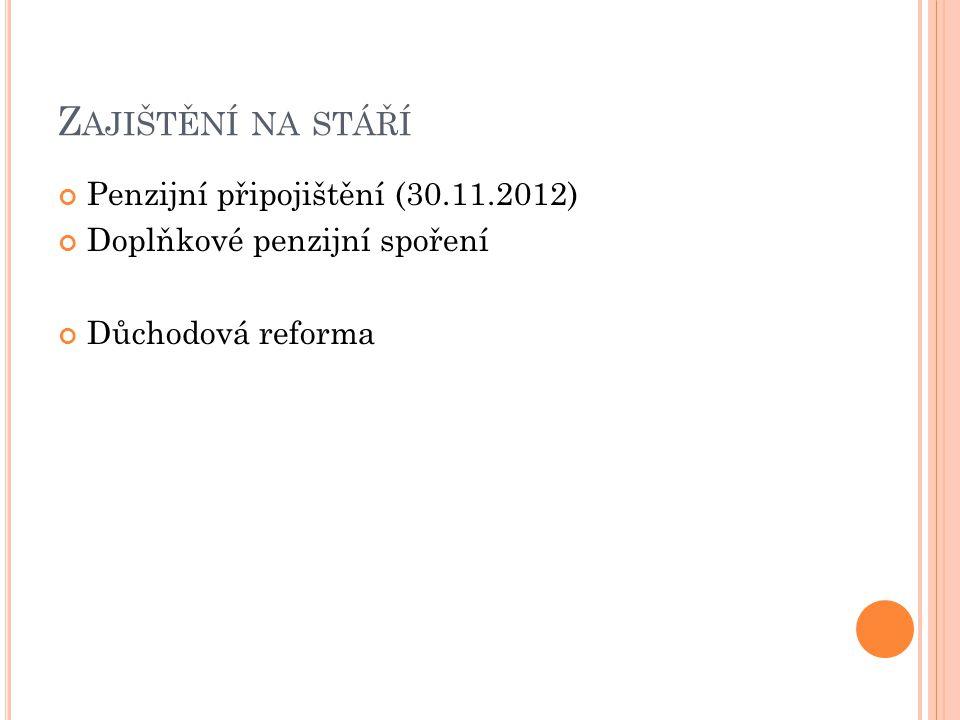Z AJIŠTĚNÍ NA STÁŘÍ Penzijní připojištění (30.11.2012) Doplňkové penzijní spoření Důchodová reforma