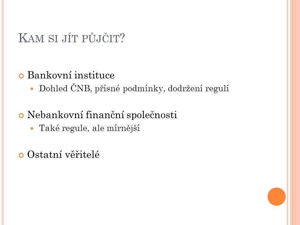 K AM SI JÍT PŮJČIT ? Bankovní instituce Dohled ČNB, přísné podmínky, dodržení regulí Nebankovní finanční společnosti Také regule, ale mírnější Ostatní