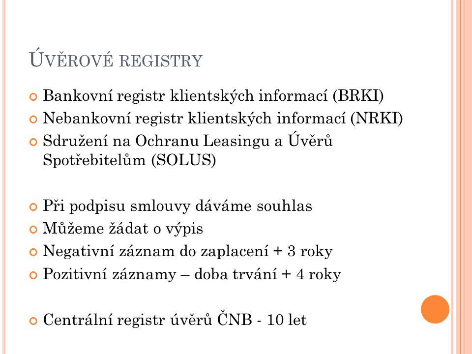 Ú VĚROVÉ REGISTRY Bankovní registr klientských informací (BRKI) Nebankovní registr klientských informací (NRKI) Sdružení na Ochranu Leasingu a Úvěrů Spotřebitelům (SOLUS) Při podpisu smlouvy dáváme souhlas Můžeme žádat o výpis Negativní záznam do zaplacení + 3 roky Pozitivní záznamy – doba trvání + 4 roky Centrální registr úvěrů ČNB - 10 let